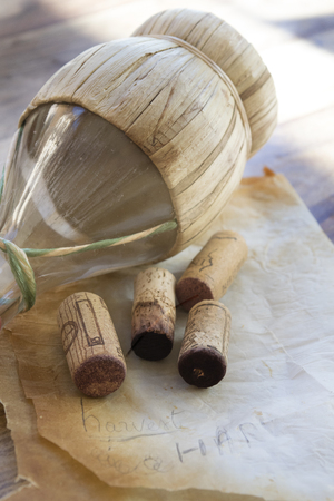 Cork and flask of wine Stock Photo