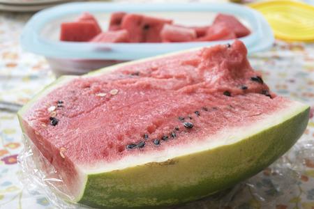 fresh watermelon cut half