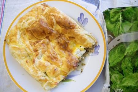 savoury: Crispy Greek-style pie a kind of filled savoury tart Stock Photo