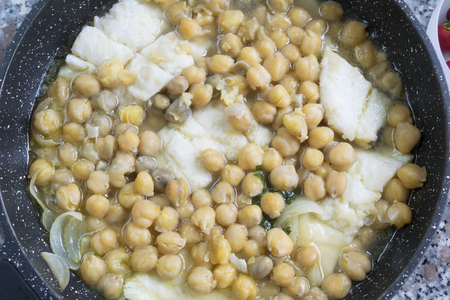 garbanzos: soup of salted cod fish with chickpeas