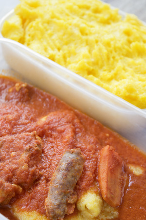 polenta with ragout of spareribs and sausages