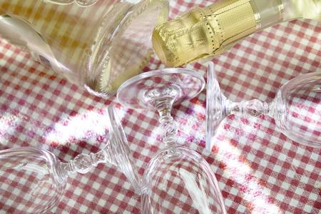 lain champagne bottle and crystal flute glasses