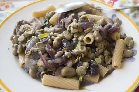 leguminosas: whole rigatoni with broad beans and tropea onions Foto de archivo
