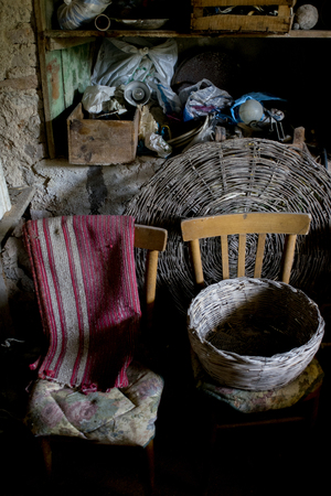 old wicker basket on old chairs in a basement