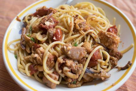 spaghetti with swordfishchunk and cherry tomatoes