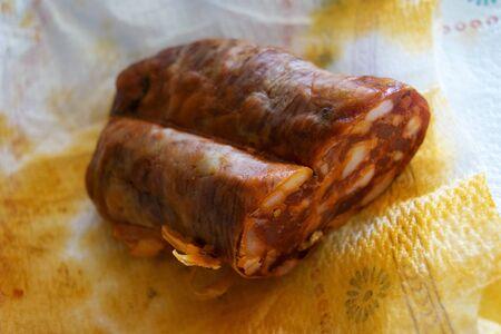 traditional hot calabrese salami called soppressata Stock Photo