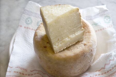 wedge of tuscan pecorino cheese laid on a whole cheese Stock Photo