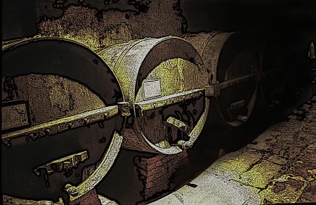 digital art: wine cellar with wooden casks