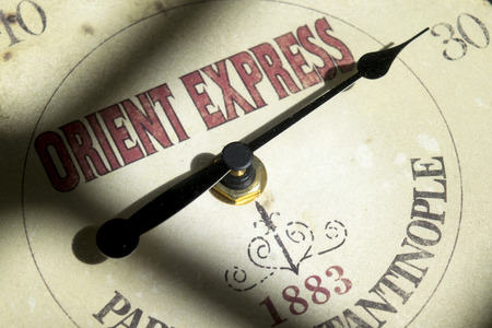 concept of orient express travel with a hand and the Its written