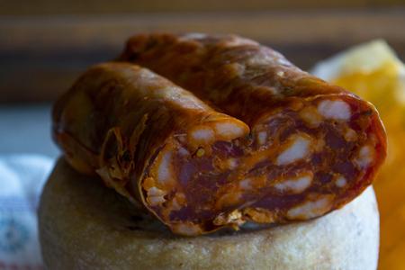 typical calabrese hot salami called soppressata Stock Photo