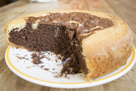 homemade sponge cake at the double taste: vanilla and chocolate