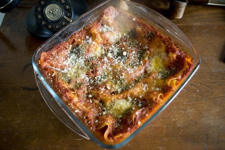 lasagna at pesto and tomato sauce cooked