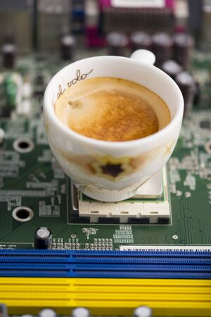 break coffee in a technologic industry Stock Photo