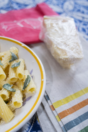 rigatoni pasta with butter sage and grated parmesan cheese