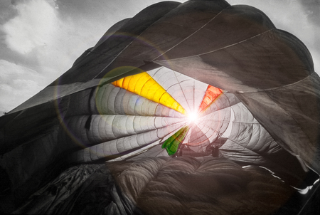 effects of lights and colors with a canopy of a parachute