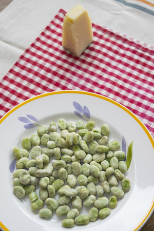 broad beans and roman pecorino traditional italian meal for 1st may day