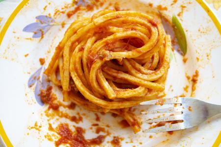 egg tonnarelli with pummarola or tomato sauce Standard-Bild - 115910762
