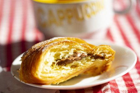 chocolate croissant at morning breakfat