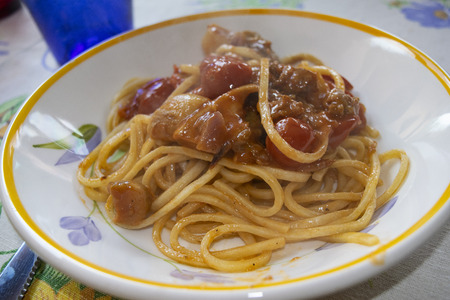 spaghetti with porcini mushrooms and fresh tomatoes
