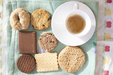 espresso coffee and variety of cookies at breakfast in Italy Standard-Bild - 115910804