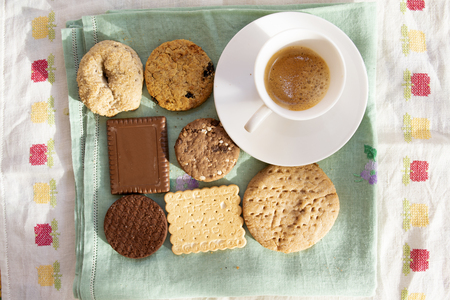 espresso coffee and variety of cookies at breakfast in Italy Standard-Bild - 117470564