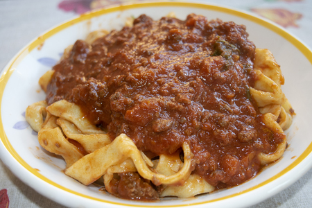 Tuscan Wild Boar Ragu with Pappardelle Pasta Stock Photo - 123772540