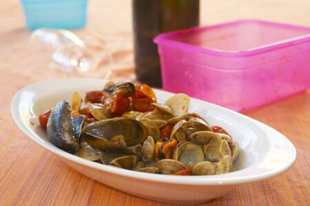 seafood saute with clams mussels and prawns Stock fotó