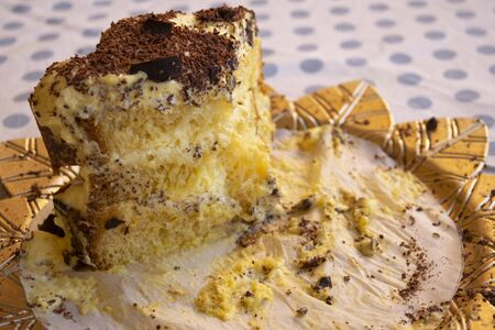 leftovers of homemade sponge cake with chantiilly creme and chocolate