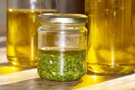basil pesto prepared at home with fresh basi and olive oil Archivio Fotografico