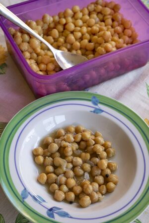 stewed chickpeas soup served in a plate