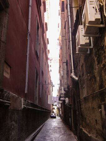 narrow alleys in the historical center town of the Naples city Stockfoto