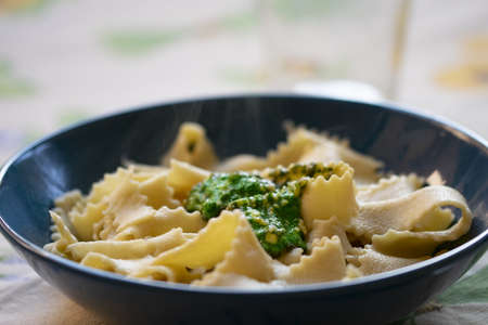 tagliatelle made at home with basil pesto genoese style