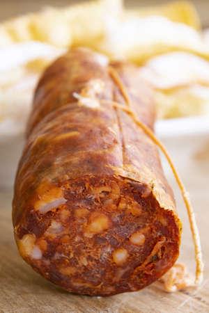 typical Calabrian salami called soppressata