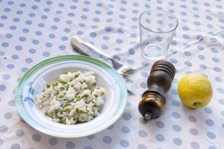 vegetable meal with italian risotto and peas Stockfoto