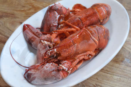 just cooked lobsters in a white serving dish