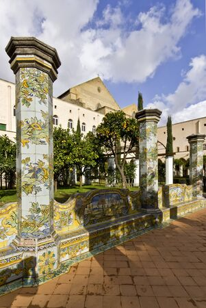 majolica: particulary of the benches covered with majolica tiles