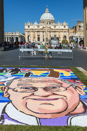 francis: Rome, Italy - June 29, 2014: Pope Francesco portrait in Floral decoration in the way of reconciliation during the traditional Flower Festival for the patron saints of Rome. St. Peter and Paul. Rome Italy
