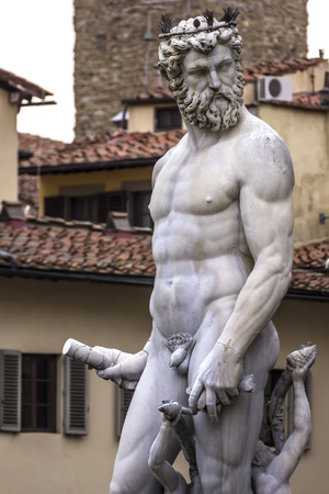 neptun: Detail of the Neptune Fountain on the square of Signoria in Florence,