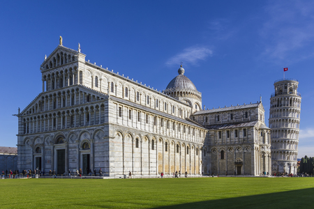 View of the cathedral in Pisa on the Square of Miracles Editorial