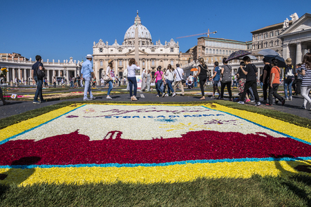 saints peter and paul: Rome, Italy - June 29, 2014: On the occasion of the patron saints of the city of Rome, St. Paul and St. Peter, was held in Piazza Pio XII and in the Via della Conciliazione Traditional Flower Festival. Some tourists admire the floral decoration