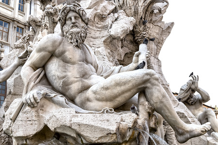 opulent: statue of the Fountain of the Four Rivers in Piazza Navona, Rome