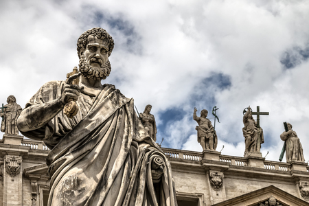 Statue of St. Peter with the key before the cathedral of San Pietro, Vatican City