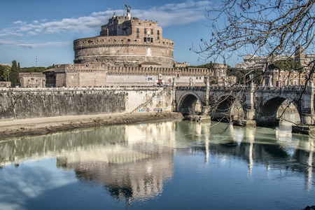 castel: View of Castel SantAngelo and the bridge of the same name from the quay of the river Tiber in Rome, italy Editorial