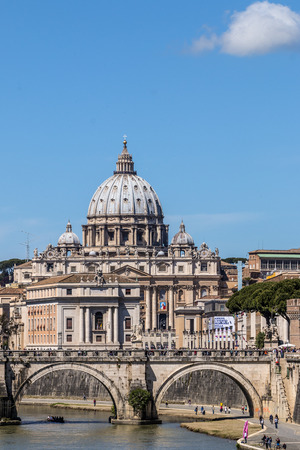 View of St. Peters Basilica after the canonization of Pope John XXIII from Ponte Umberto I