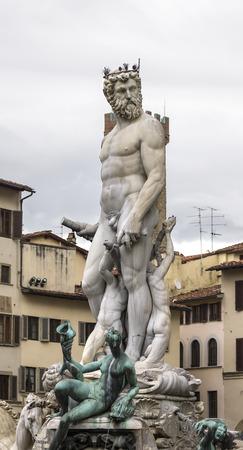 neptun: Detail of the Neptune Fountain in Piazza della Signoria, Florence Stock Photo