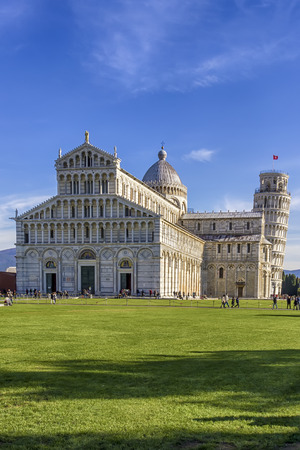 View of the cathedral in Pisa in the square of Miracles