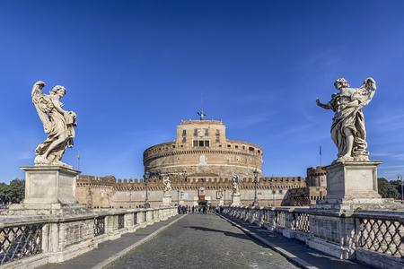 view of the Castel SantAngelo from the SantAngelo bridge Editorial