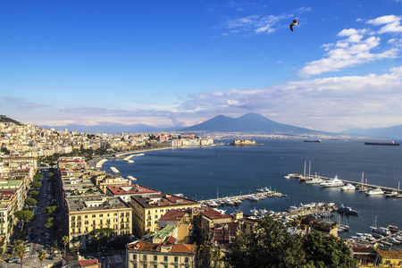 Panoramic views of the Gulf of Naples and Vesuvius in the background