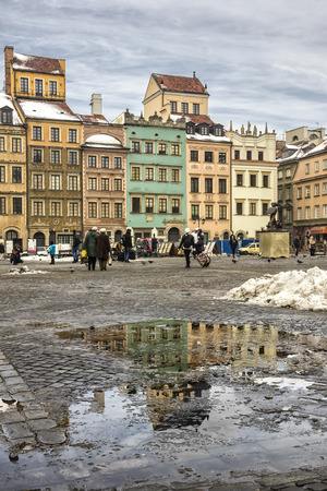 urban idyll: Colorful old houses on marketplace old town square in Warsaw, the capital of Poland