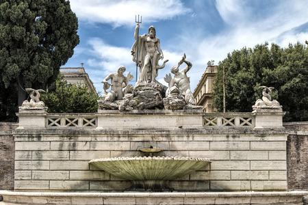 Neptune Fountain in Piazza del Popolo, Rome, Italy